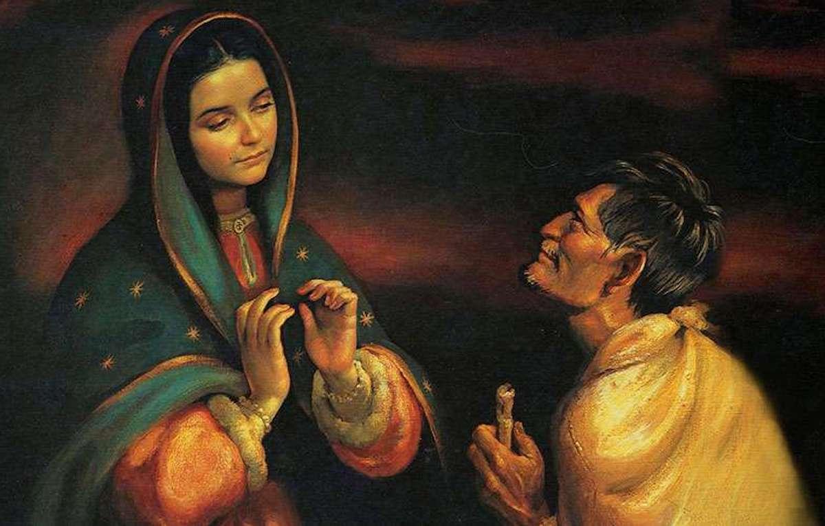 El Nican Mopohua cuenta que Juan Diego fue testigo de las apariciones de la Virgen de Guadalupe en el cerro del Tepeyac.