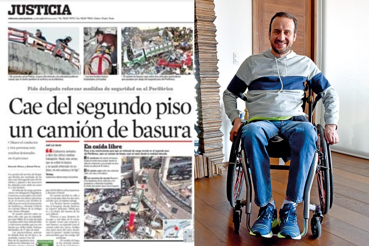 José Villela. A la izquierda, edición impresa del periódico Reforma, un día después del accidente.