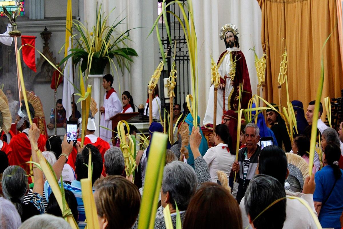 Las palmas se bendicen el Domingo de Ramos. Foto: Cathopic