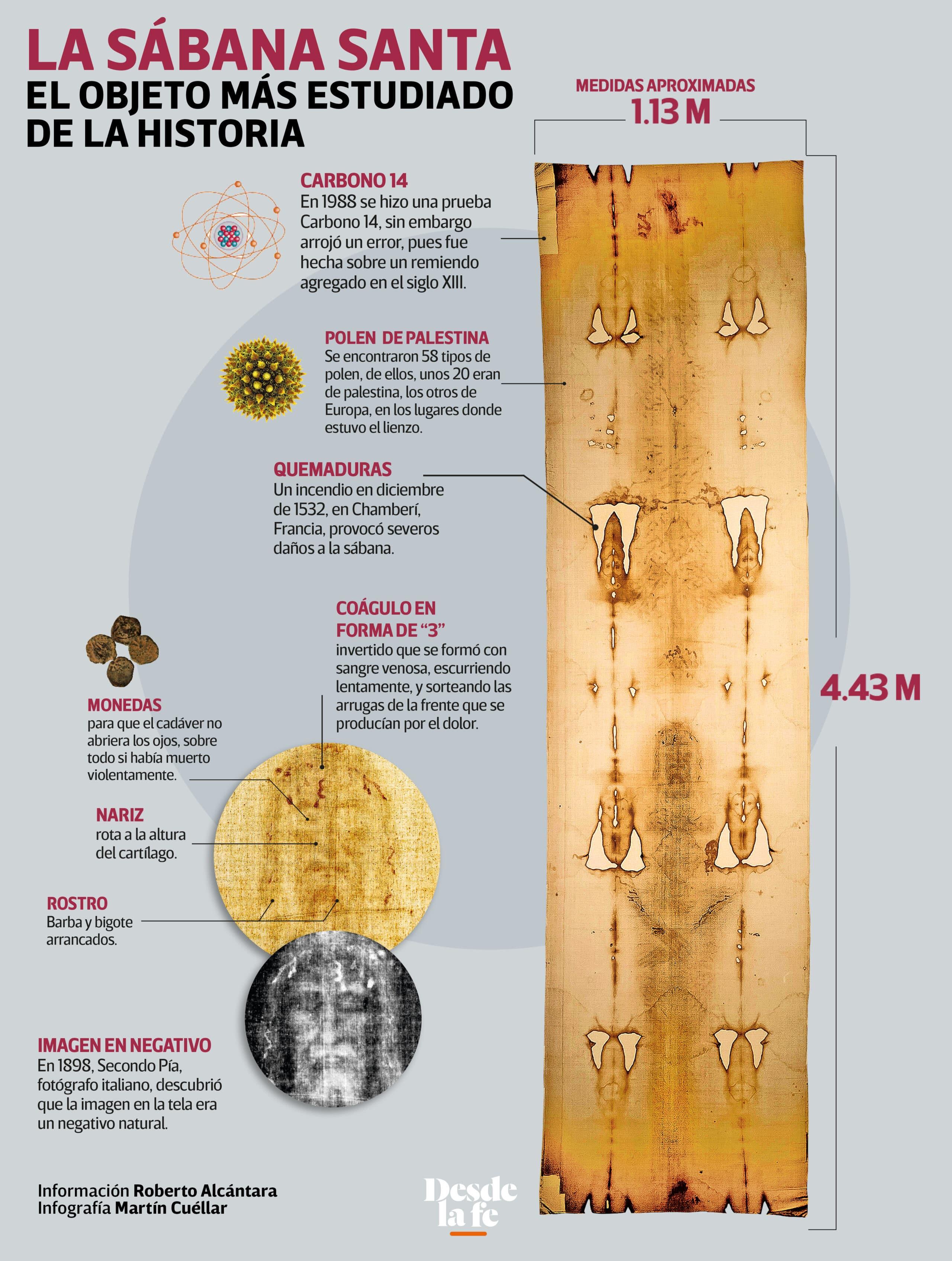 La Sábana Santa. Infografía: Desde la fe.
