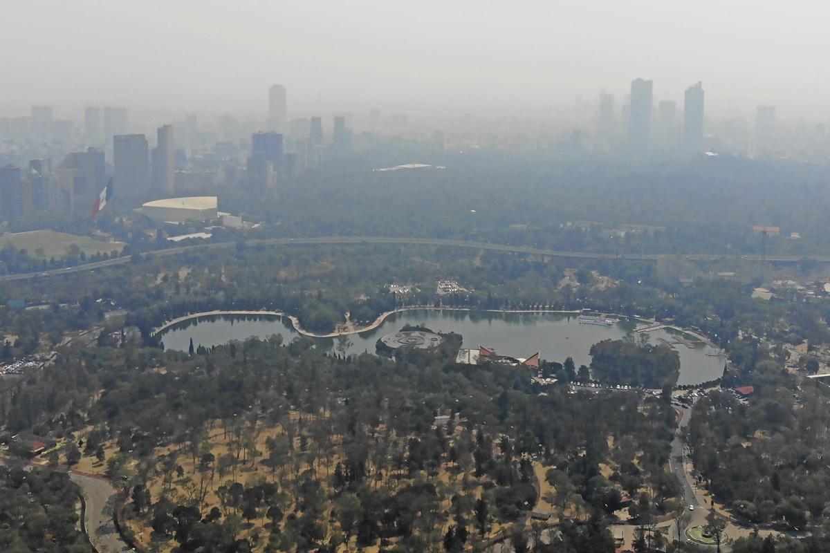 El bosque de Chapultepec durante la última contingencia ambiental. Foto Ricardo Sánchez