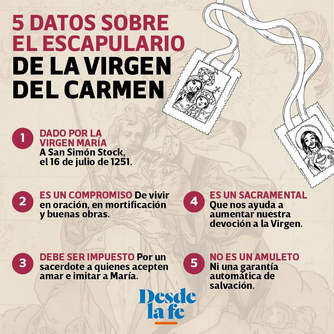 5 datos sobre el escapulario de la Virgen del Carmen.