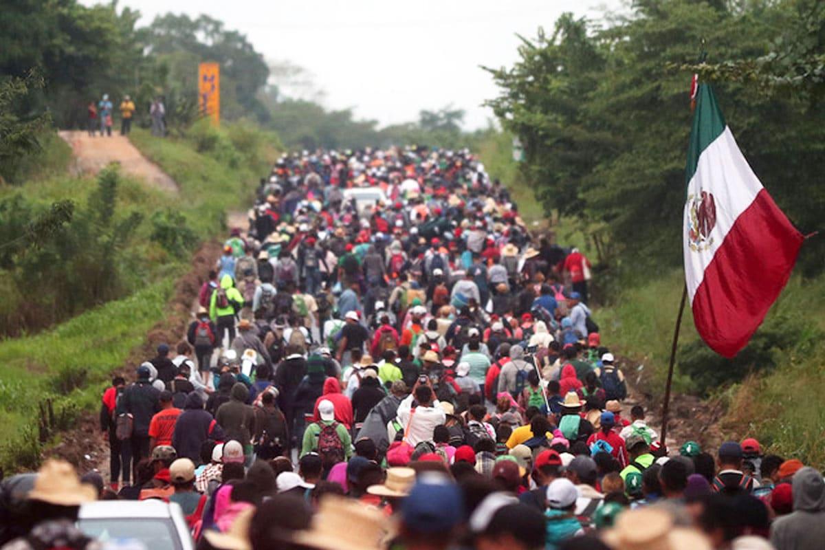 Migrantes en la frontera de México.