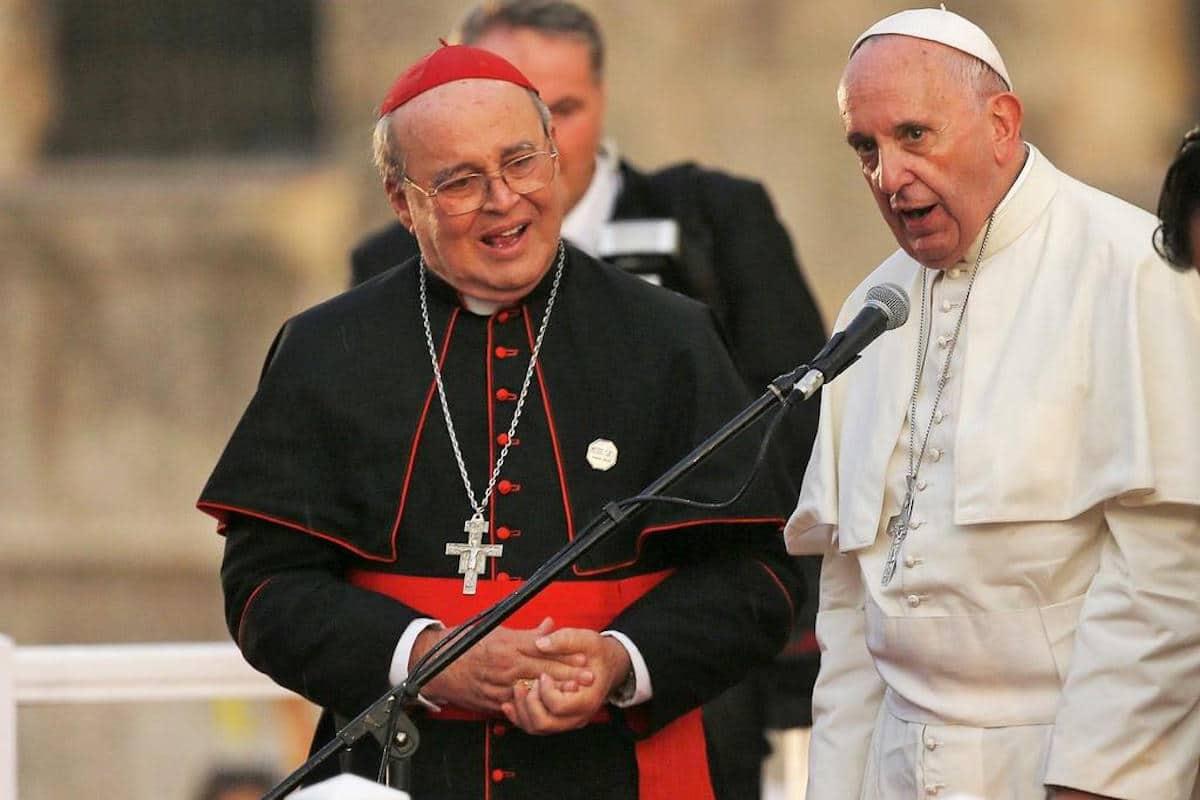 El Cardenal Jaime Ortega con el Papa Francisco.