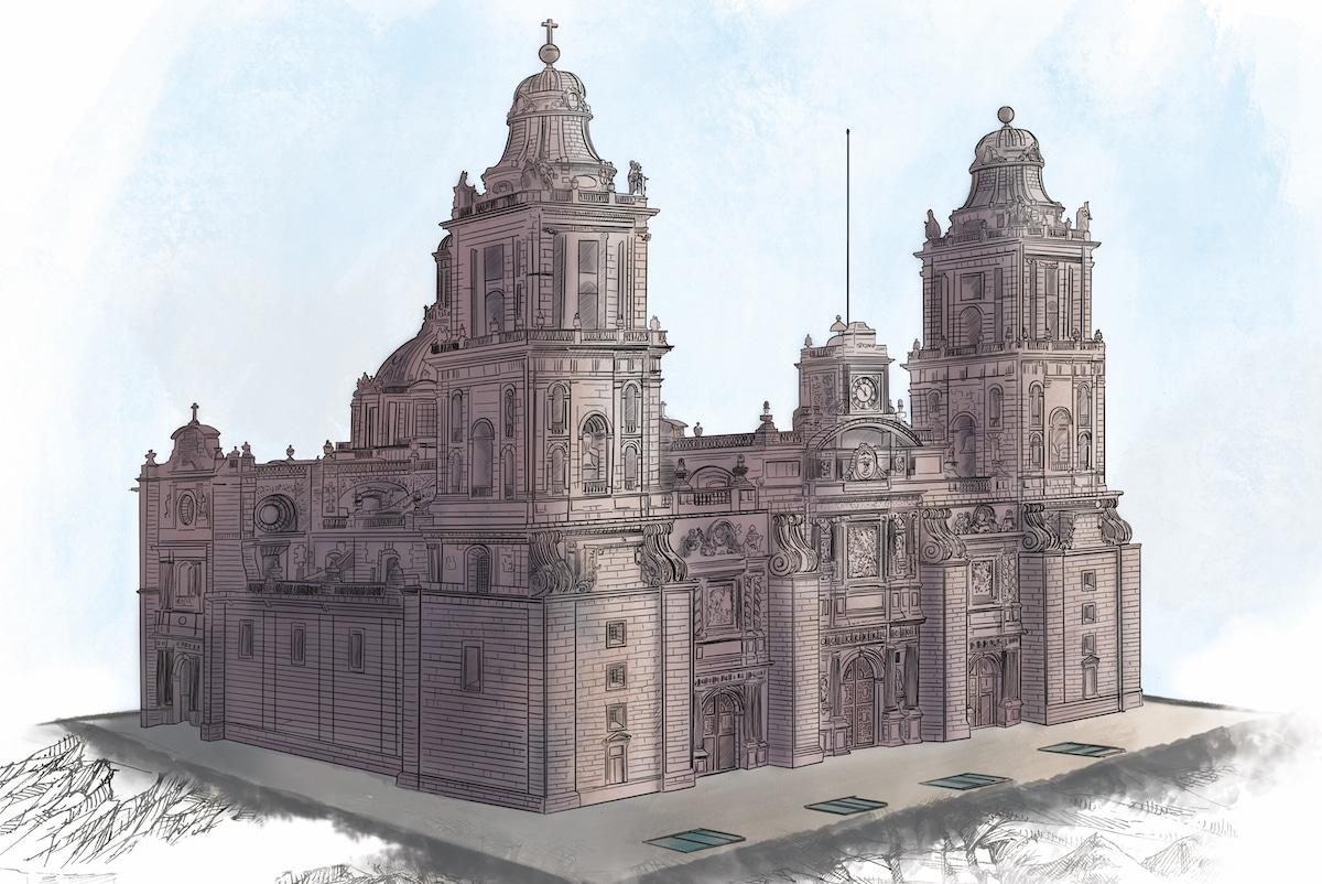 Ilustración de la Catedral Metropolitana de México. Crédito: Desde la fe