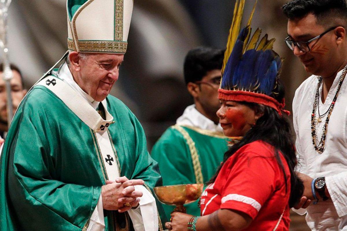 Papa en el Sínodo de la Amazonia. Foto Vatican News