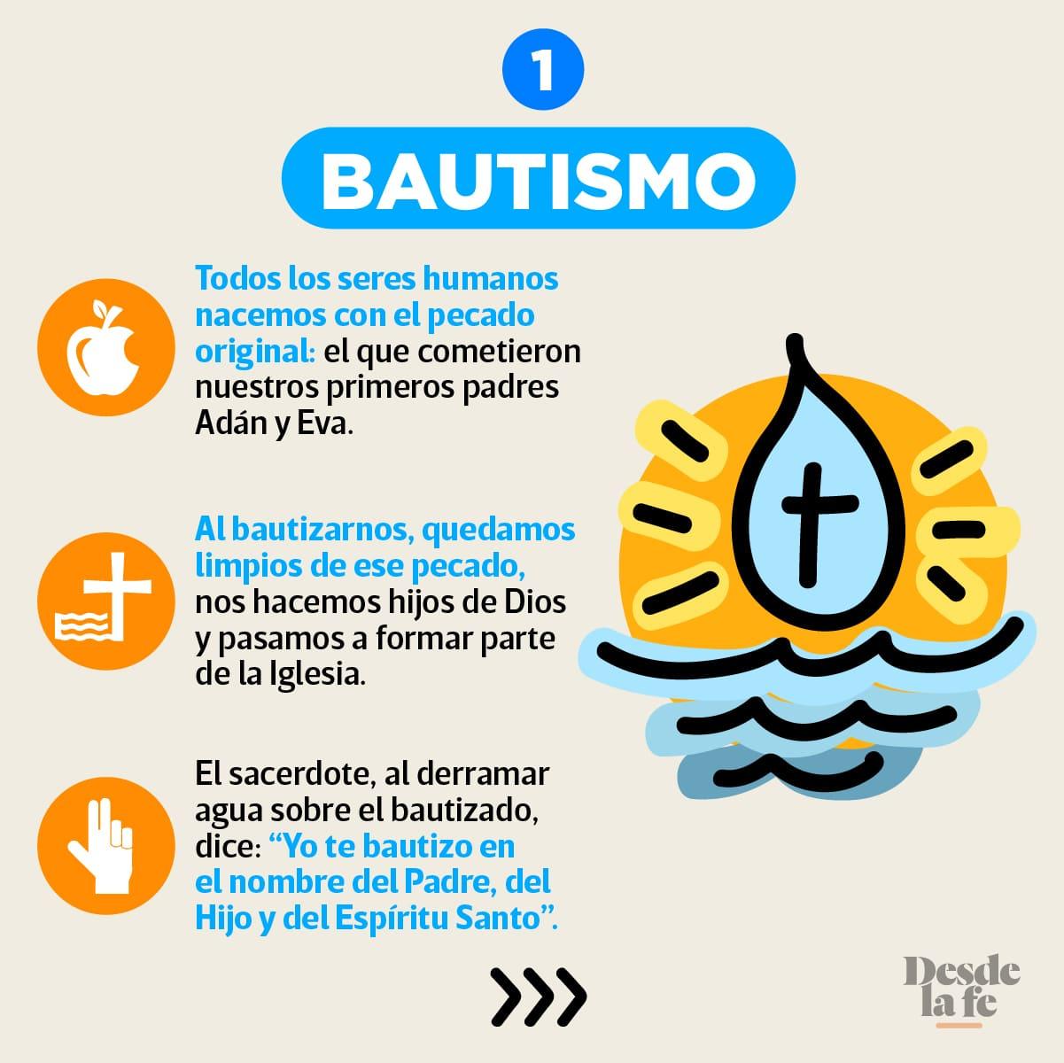 El Bautismo es uno de los 7 Sacramentos de la Iglesia.