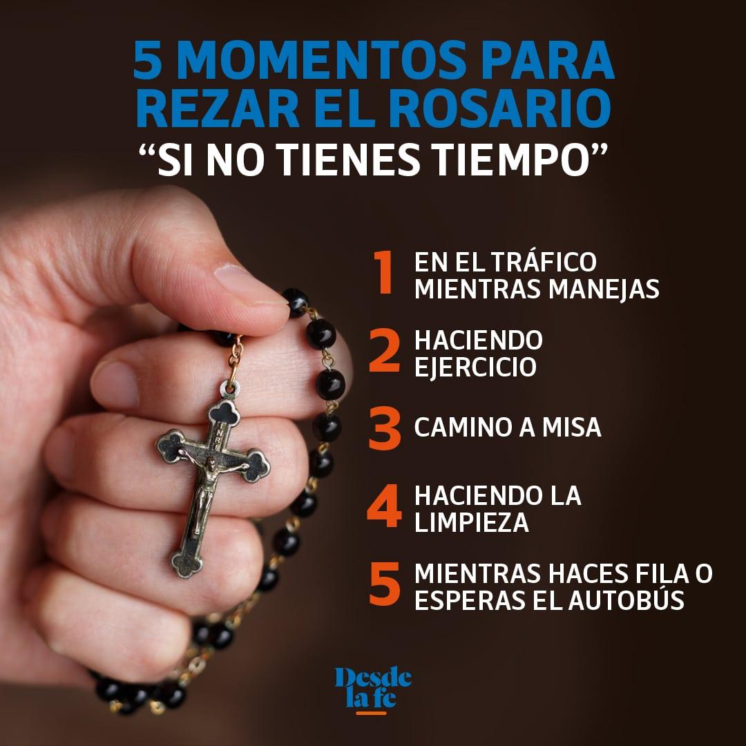 5 momentos para rezar el Rosario si no tienes tiempo.