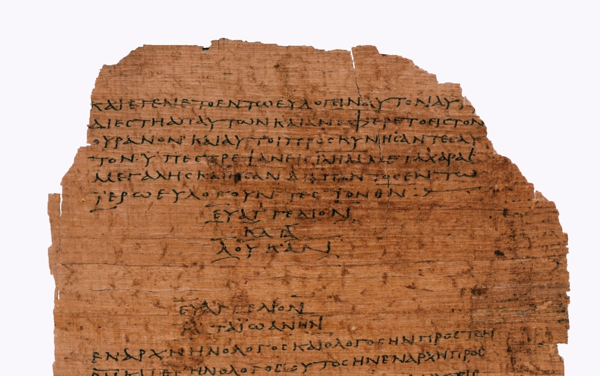 Papiro Bodmer: página del paso del Evangelio de Lucas a Juan. Foto: L'Osservatore Romano