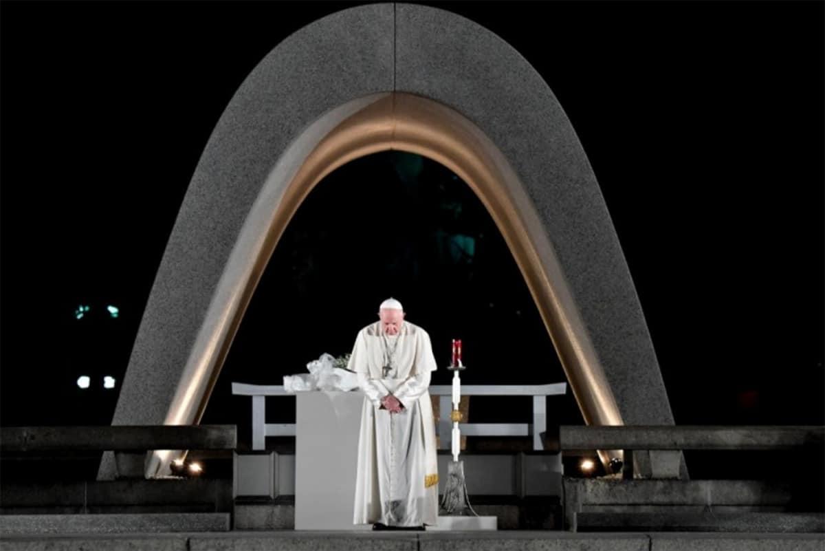 El Pontífice durante su visita a Hiroshima. Foto: Vatican Media.