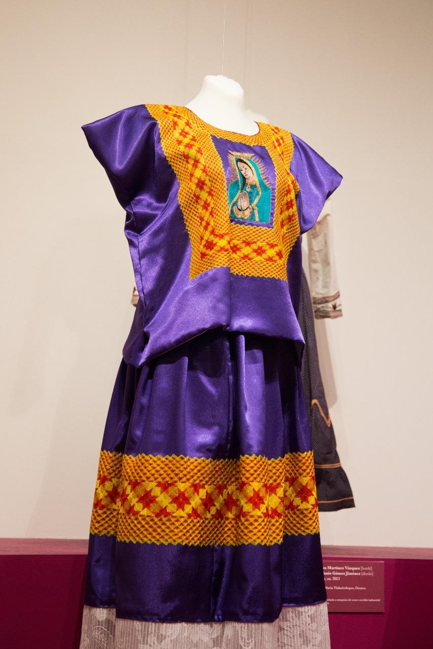Vestido con detalles de la Virgen de Guadalupe. Foto: María Langarica