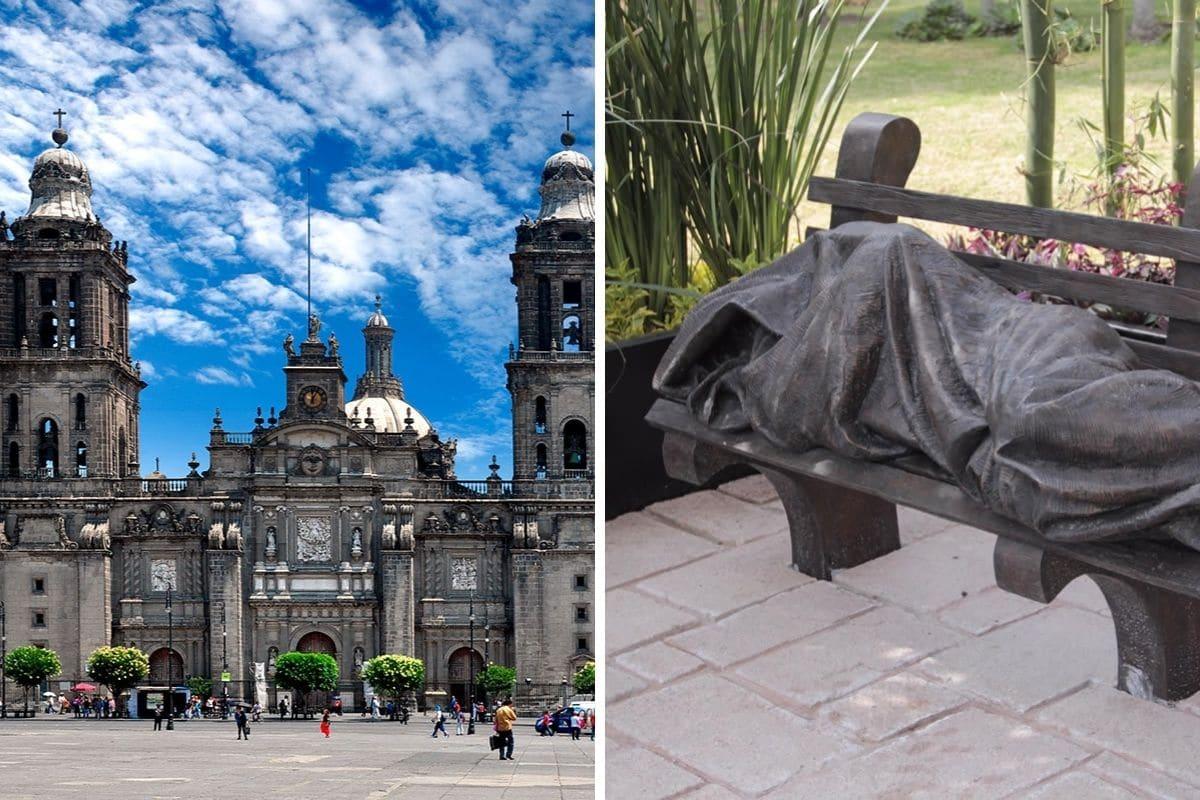 La estatua Jesús sin hogar se encuentra en la Catedral de México; es una de las más de 100 en el mundo.