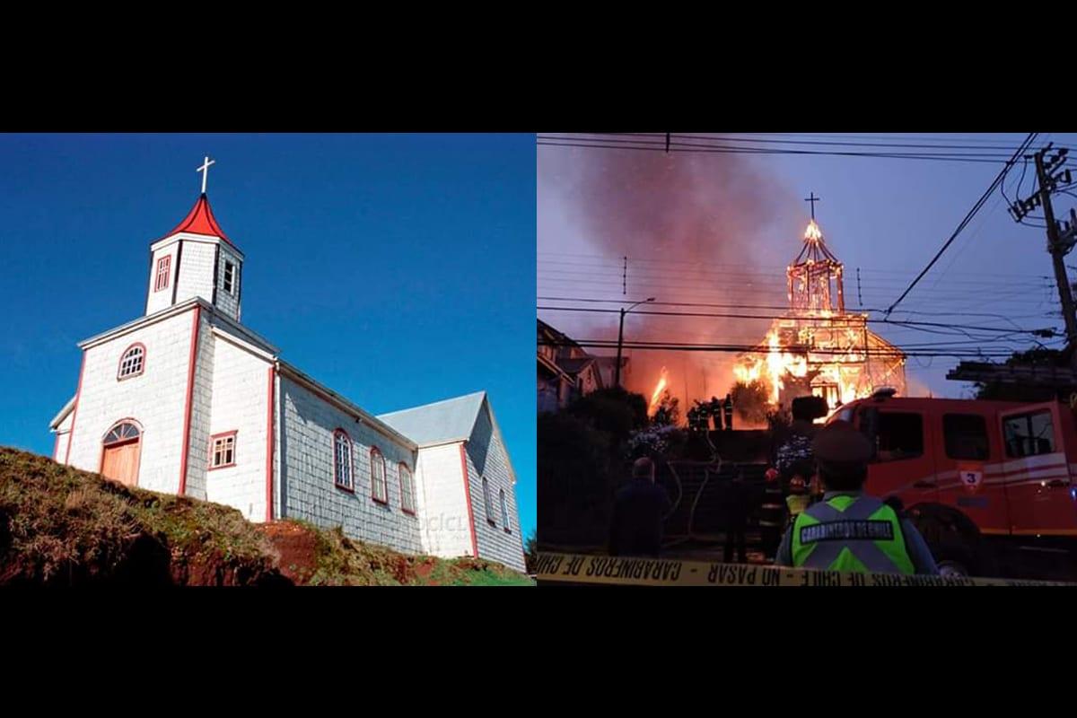La iglesia de San Francisco de Ancud antes y durante el incendio.
