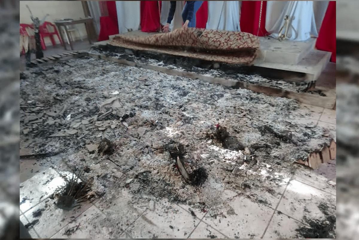 Imagen de los daños en la Capilla de la Virgen de Guadalupe, en Xalatlaco, Veracruz.