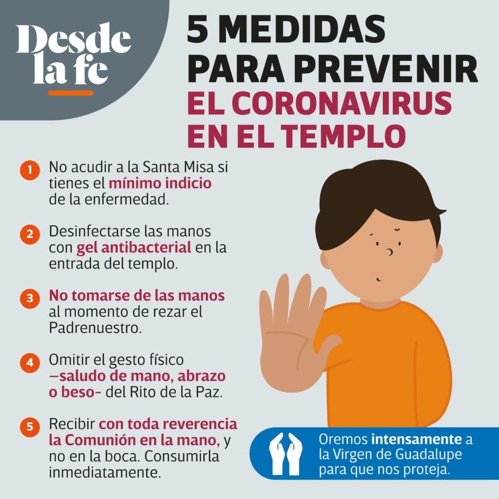 Algunas medidas para prevenir el contagio por coronavirus al asistir a Misa.