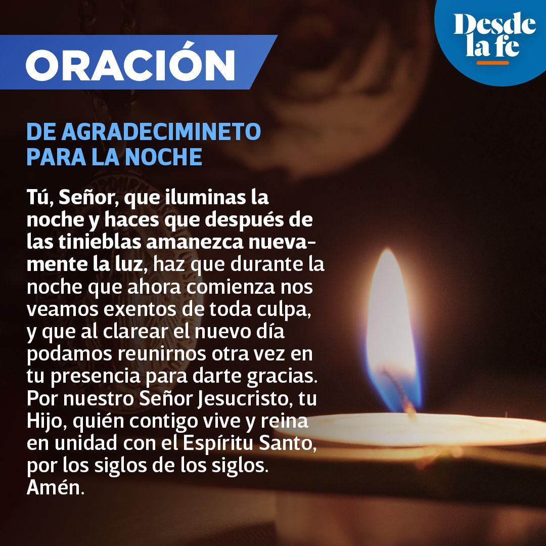 Oración de agradecimiento para la noche.