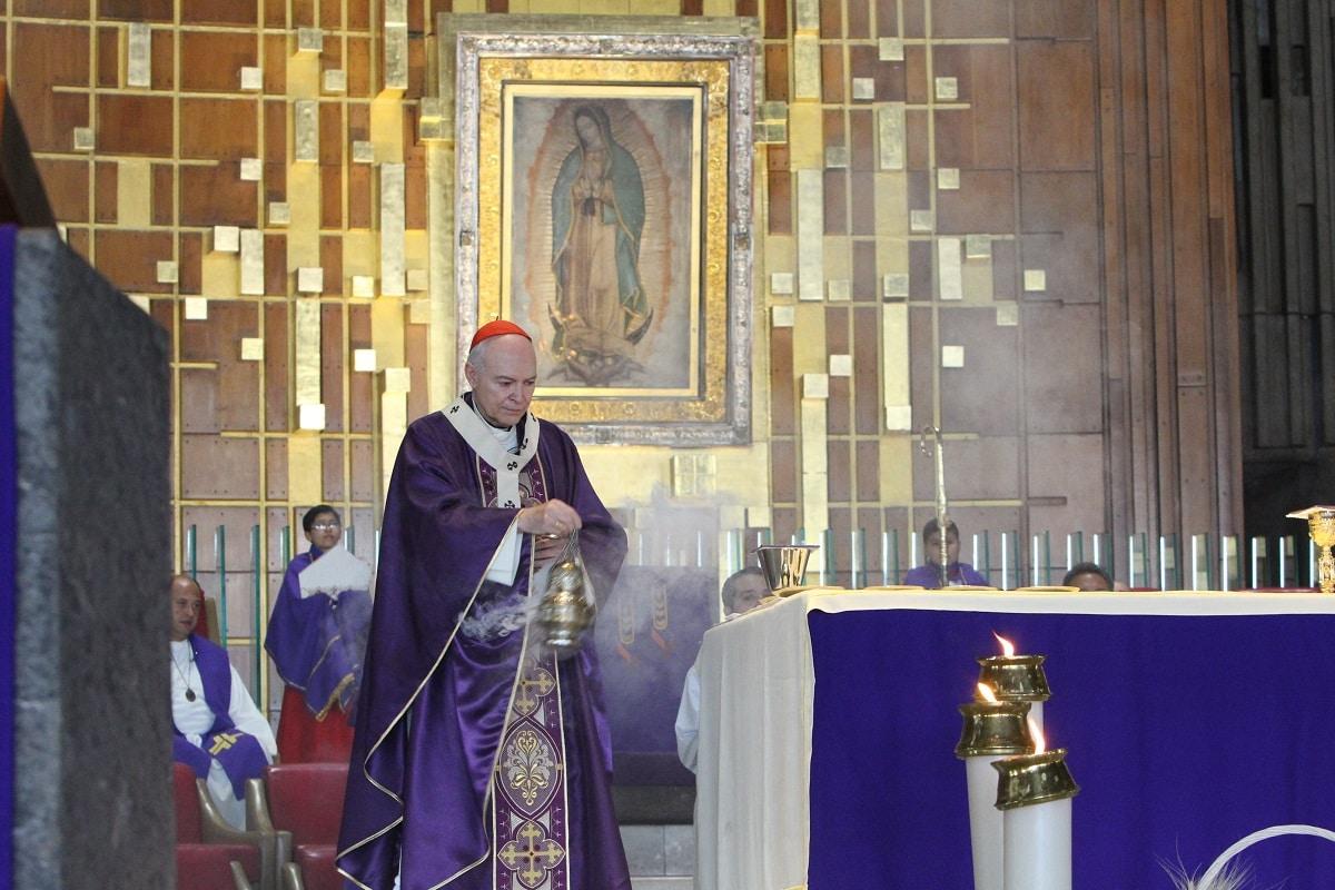 El Arzobispo Carlos Aguiar en Basílica de Guadalupe. Foto: INBG/Cortesía.