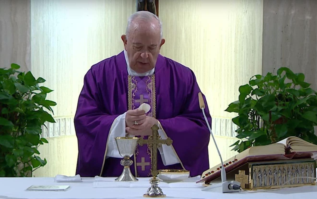 El Papa Francisco en su Misa en Santa Marta, 18 de marzo de 2020.