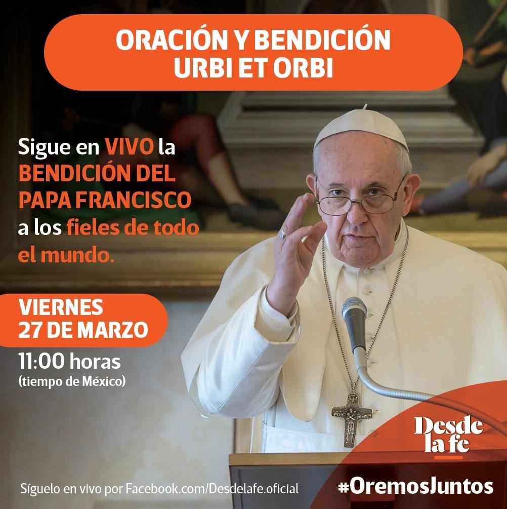 Ve la bendición del Papa Francisco en el Facebook de Desde la fe.