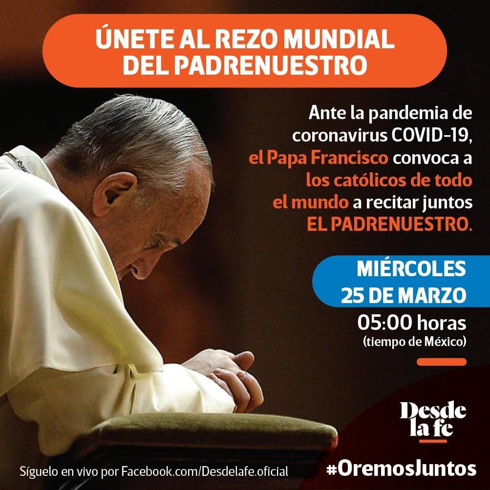 Ve en vivo del Padrenuestro del Papa Francisco en el Facebook de Desde la fe.