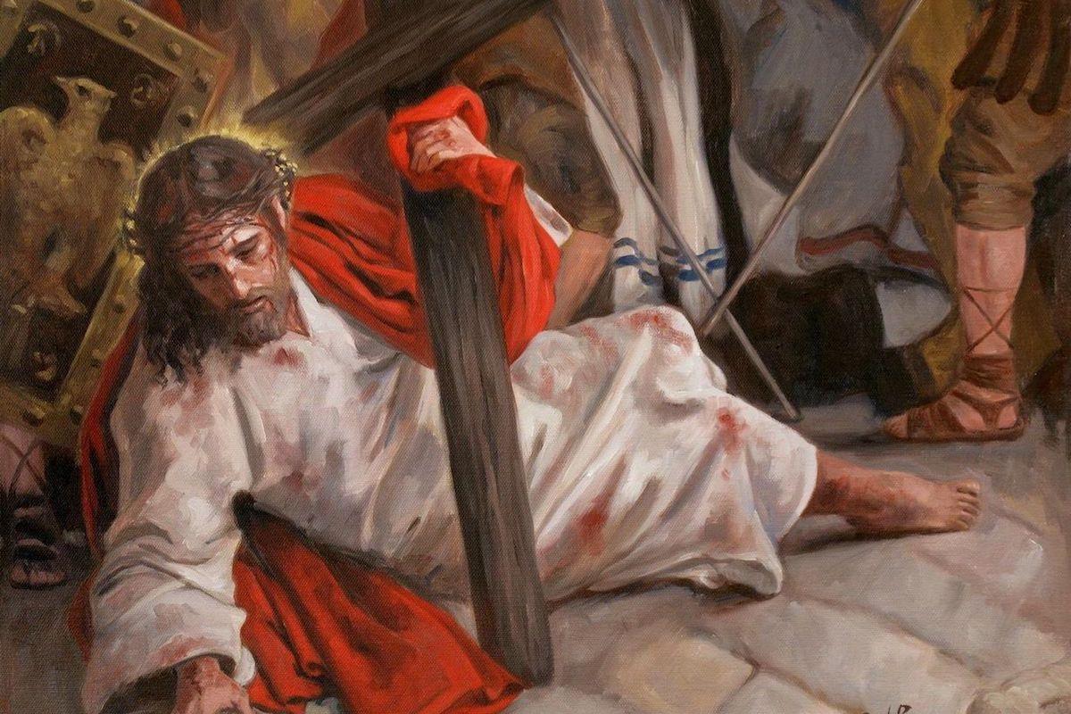 En la Séptima Estación del VIacrucis Jesús cae por segunda vez.