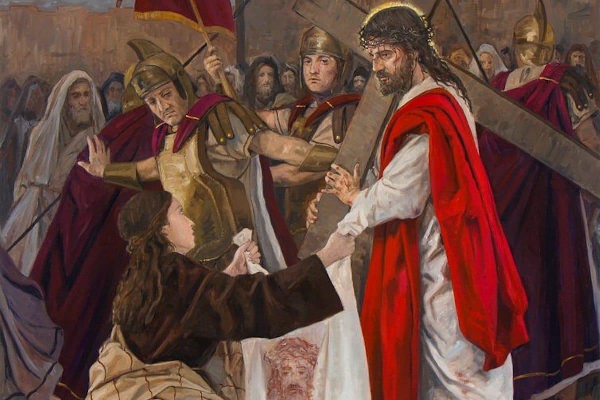 Sexta estación: La Verónica enjuga el rostro de Jesús.