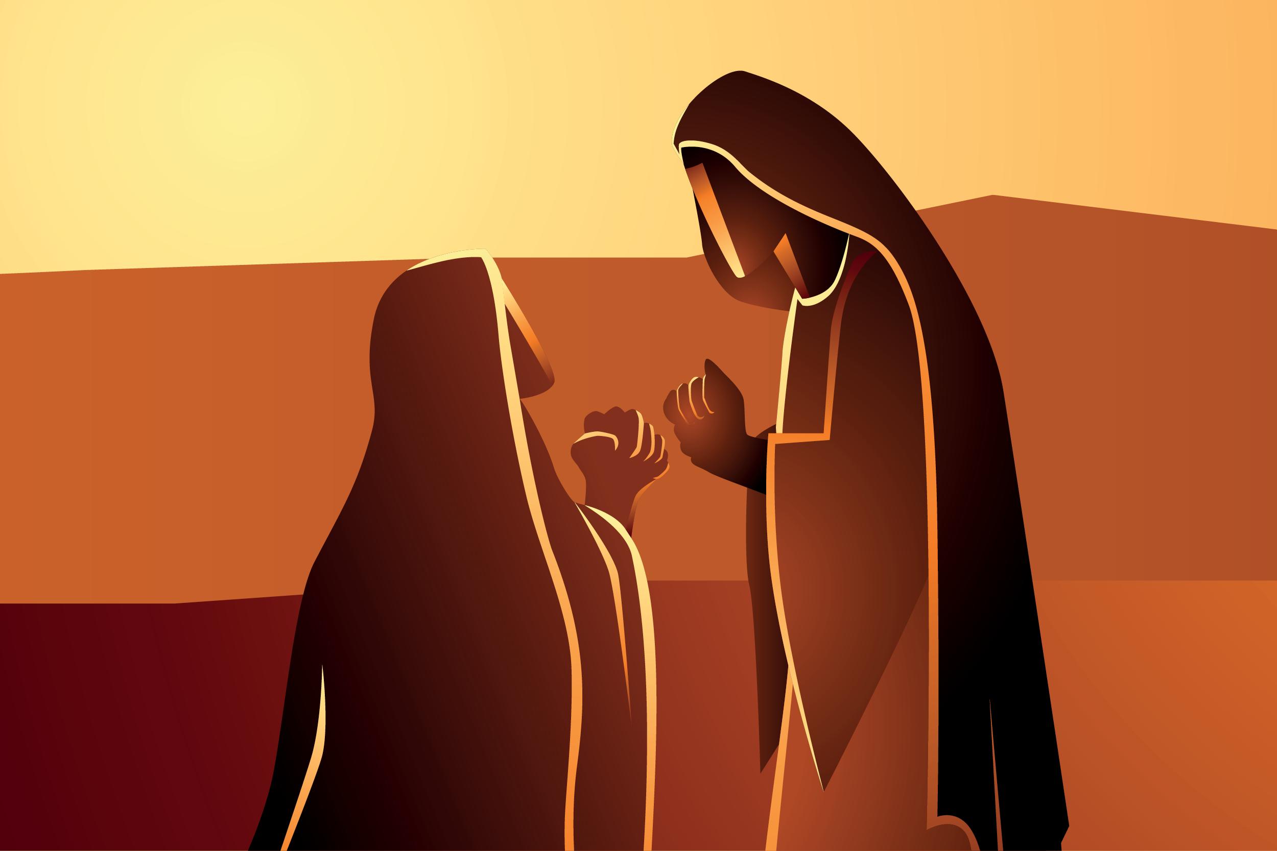 La visitación de la Virgen María a su prima Isabel. Ilustración: Martín Cuéllar.