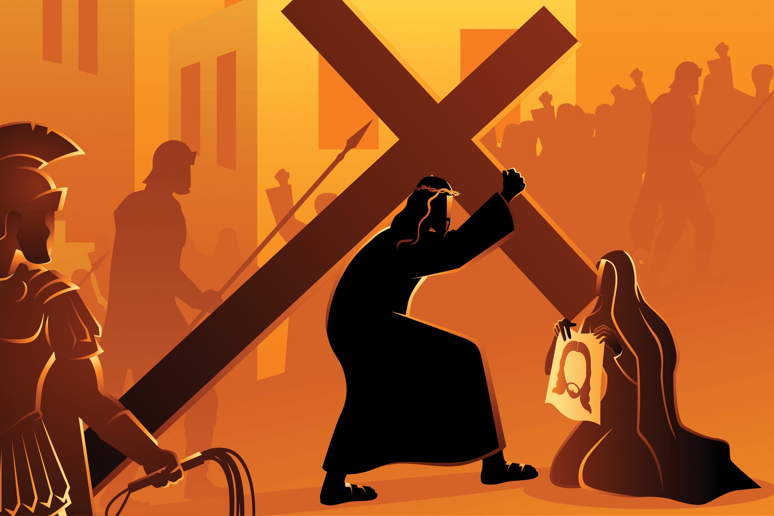 Jesús carga la cruz camino del Calvario