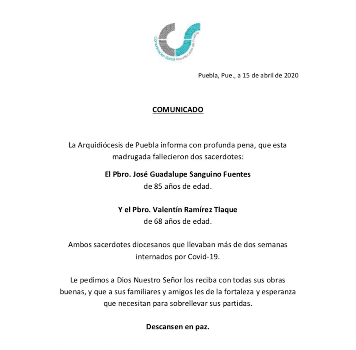 Comunicado de la Arquidiócesis de Puebla