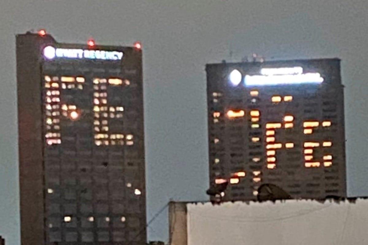 Hoteles de Polanco iluminados con la palabra fe. Foto: Especial.