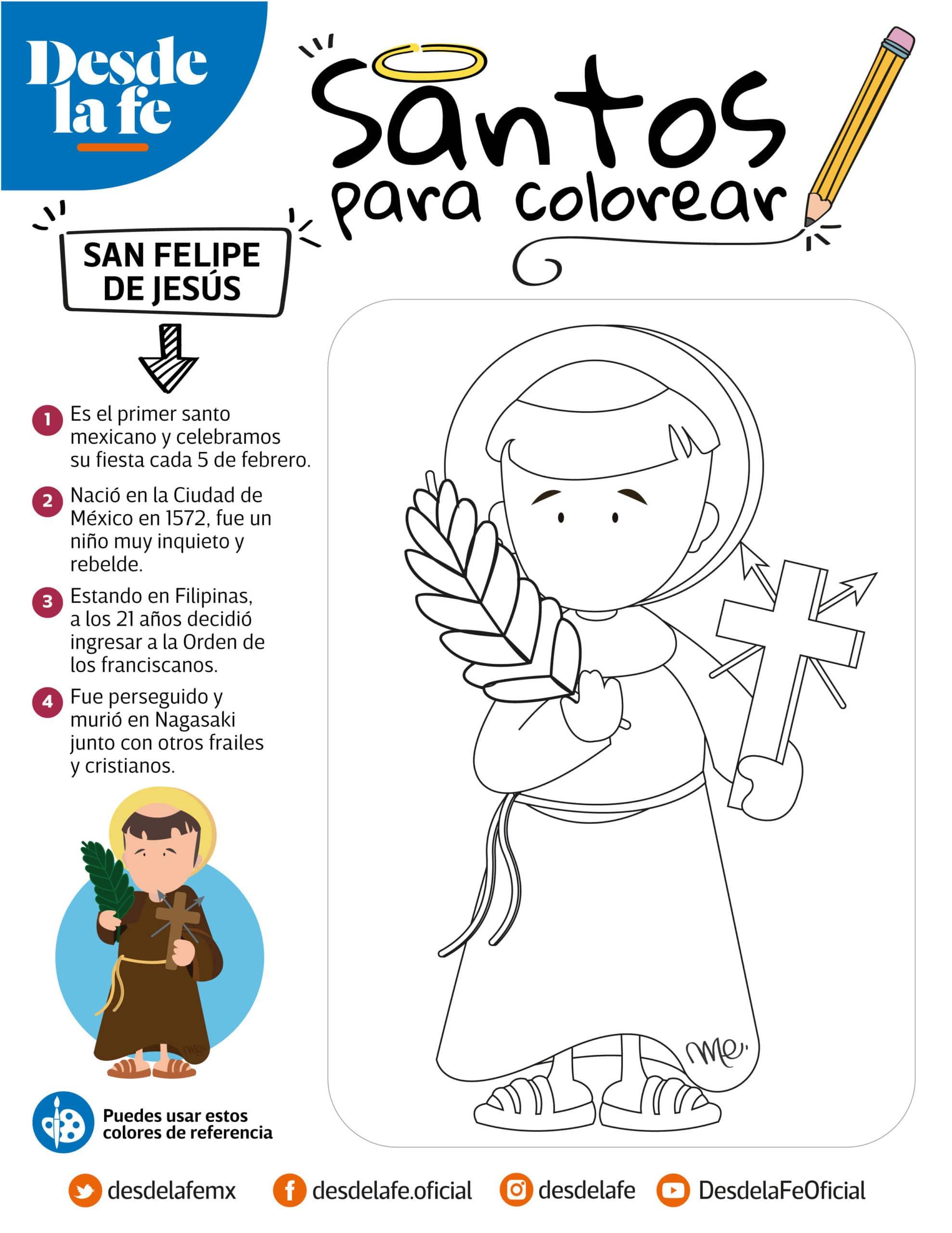 San Felipe de Jesús, dibujo para colorear.