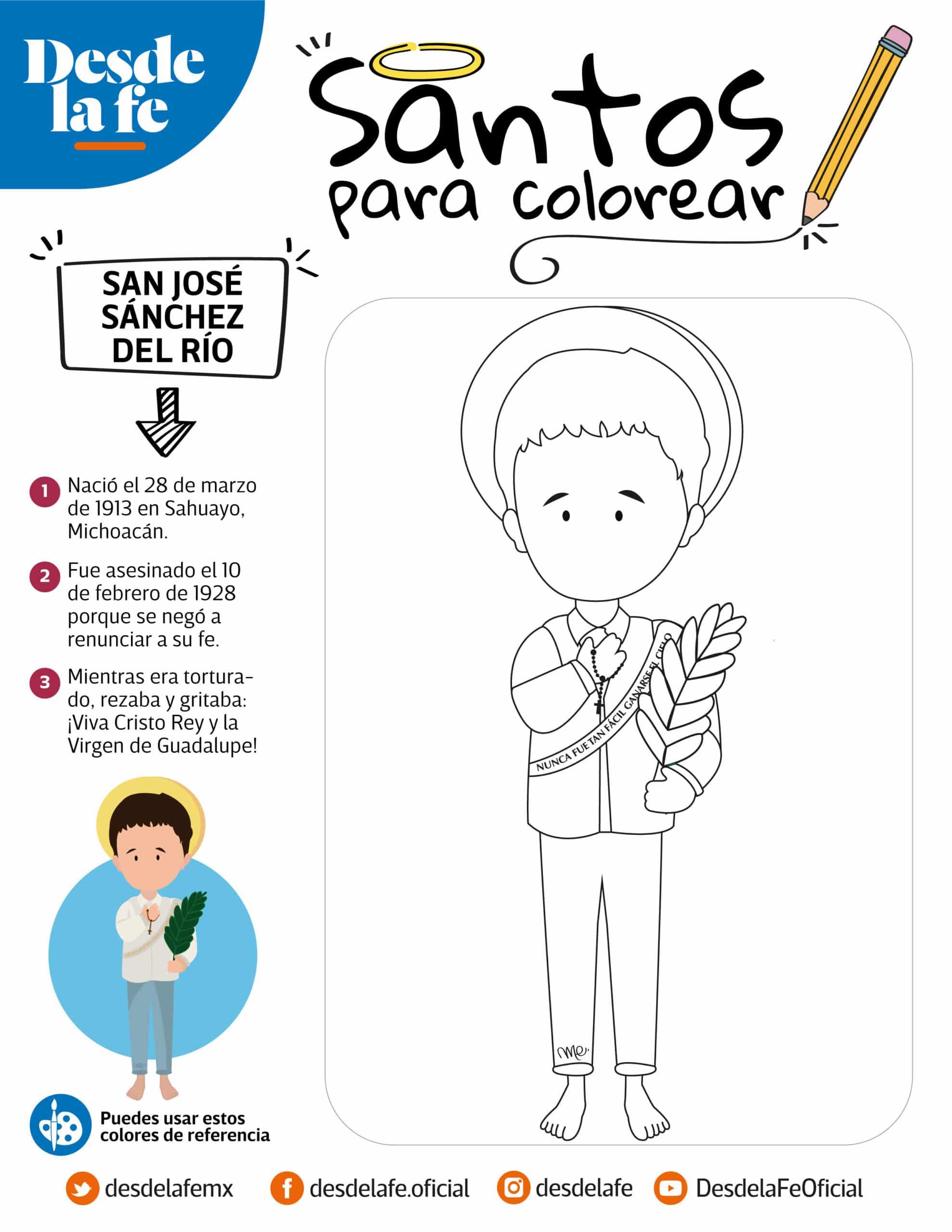 San José Sánchez del Río, San Joselito, dibujo para colorear.