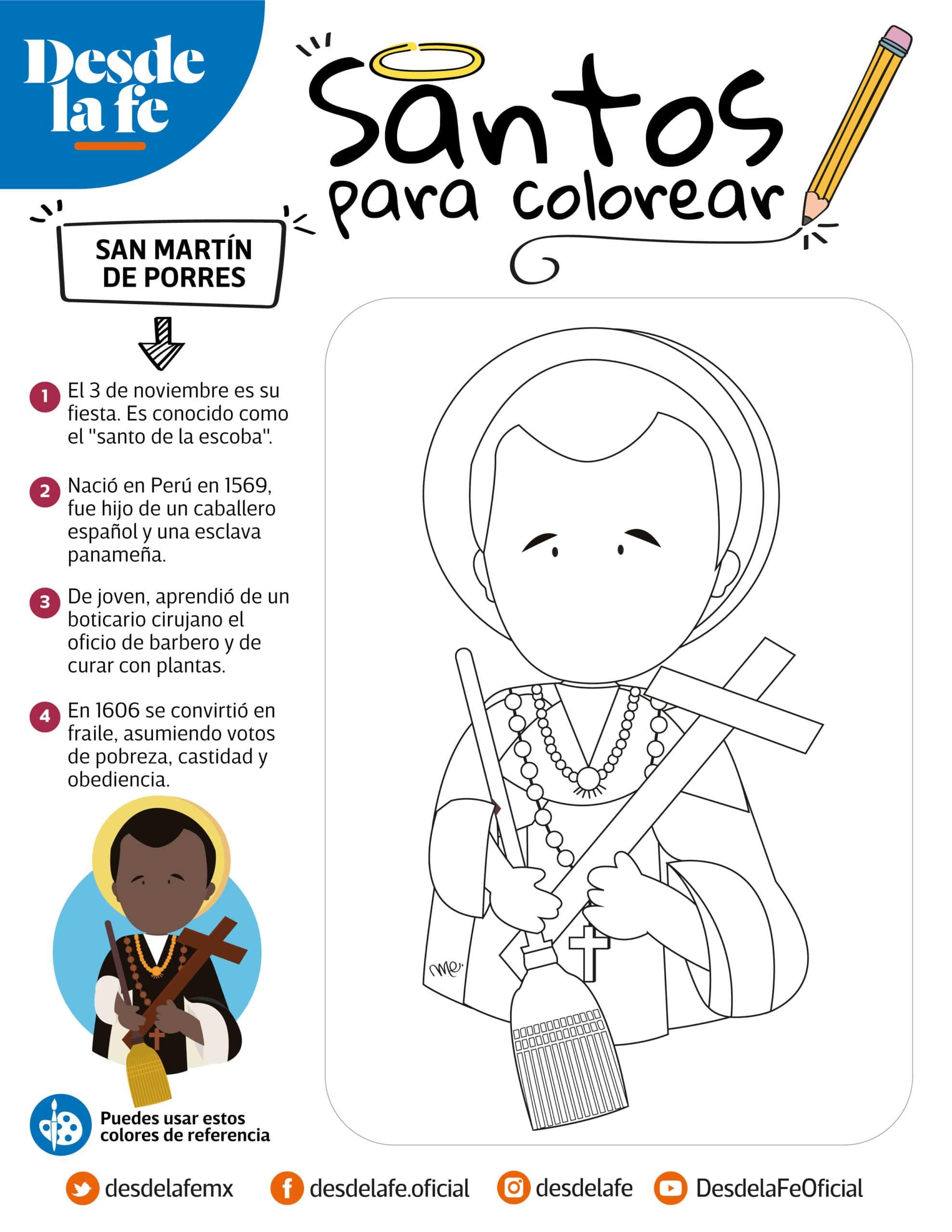 San Martín de Porres, dibujo para colorear.