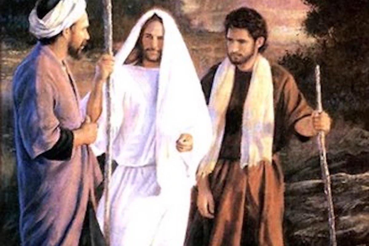Jesús se aparece a los peregrinos de Emaús.