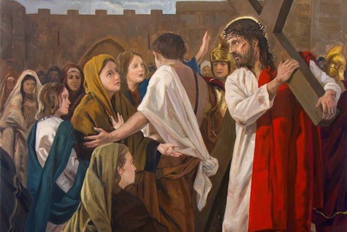 Jesús consuela a las hijas de Jerusalén en la VIII Estación del Viacrucis.