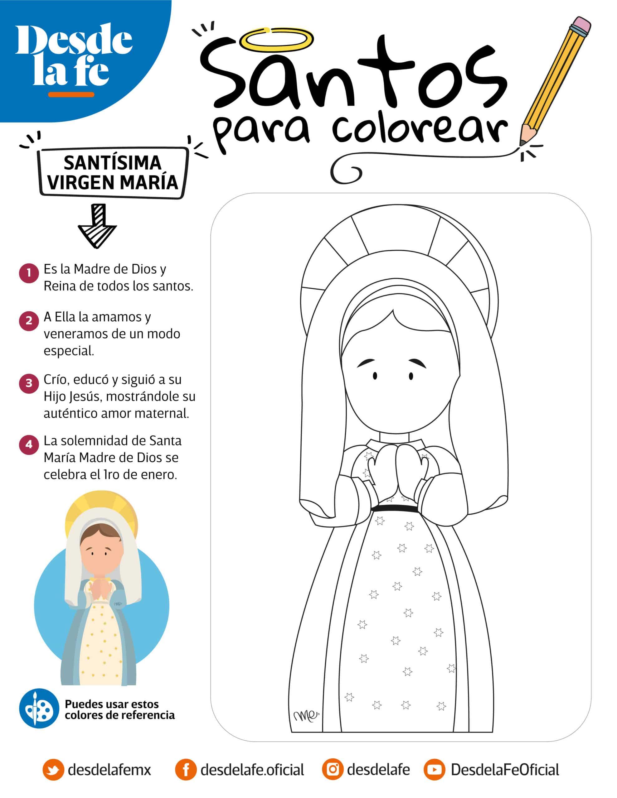 Virgen María, dibujo infantil para colorear.