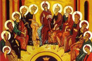 El Espíritu Santo se derrama sobre los discípulos reunidos.