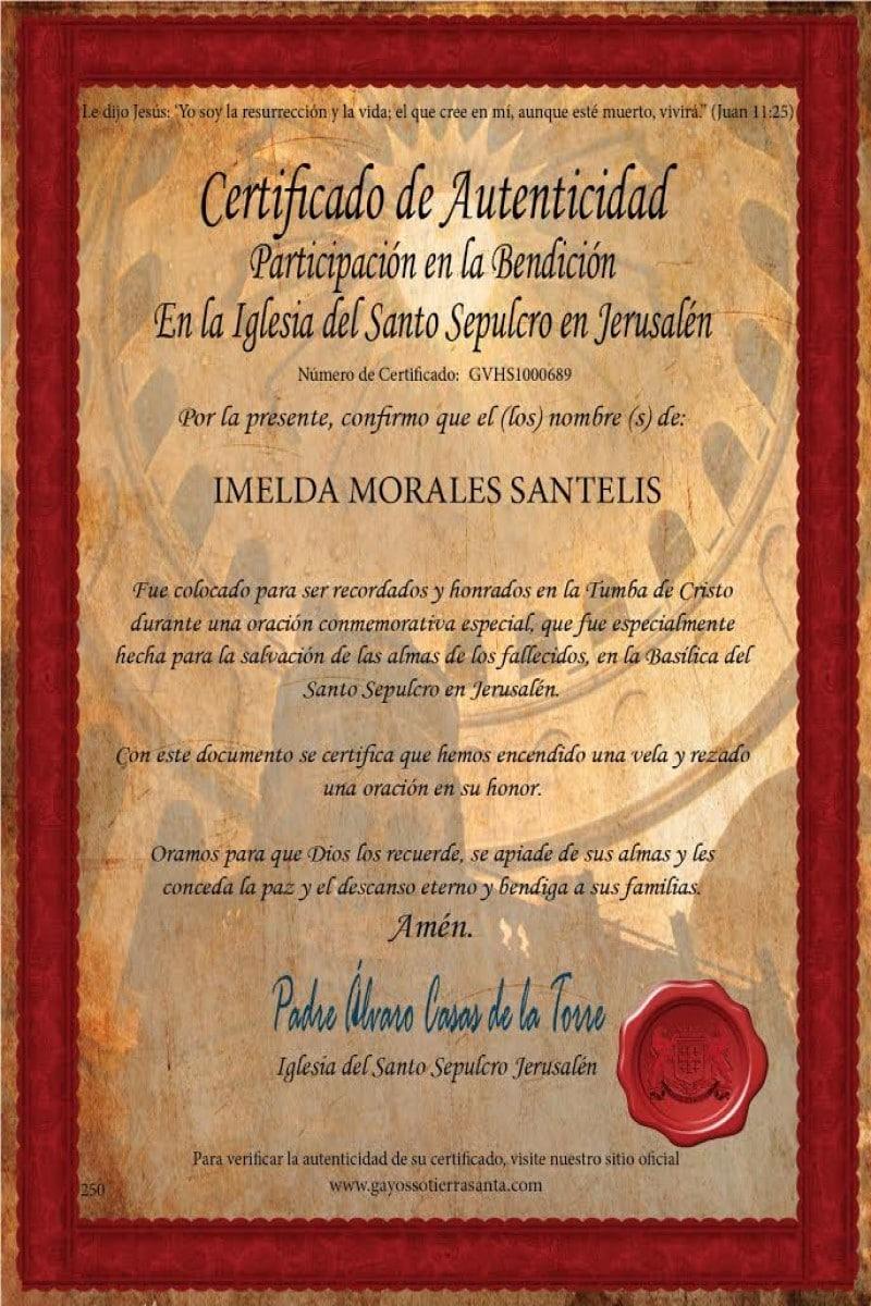 Certificado de la participación de la Misa en la Basílica del Santo Sepulcro. Foto: Gayosso