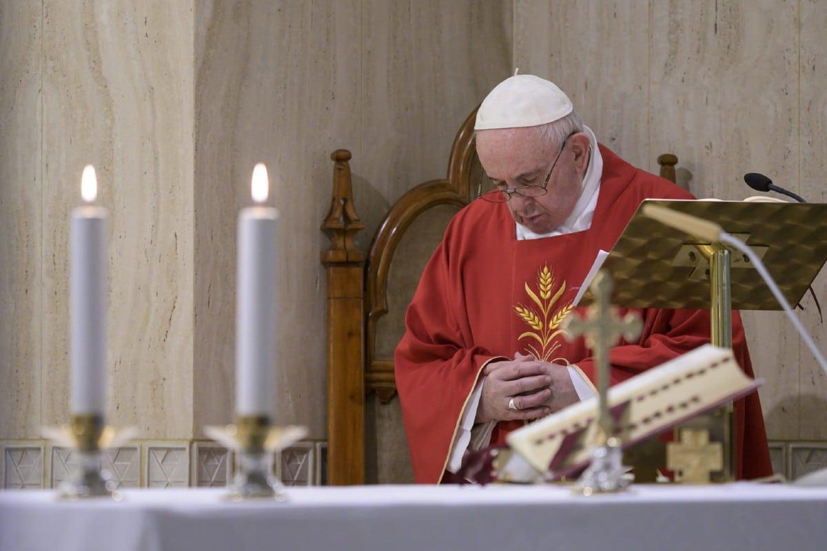 Papa Francisco en la capilla de Santa Marta.