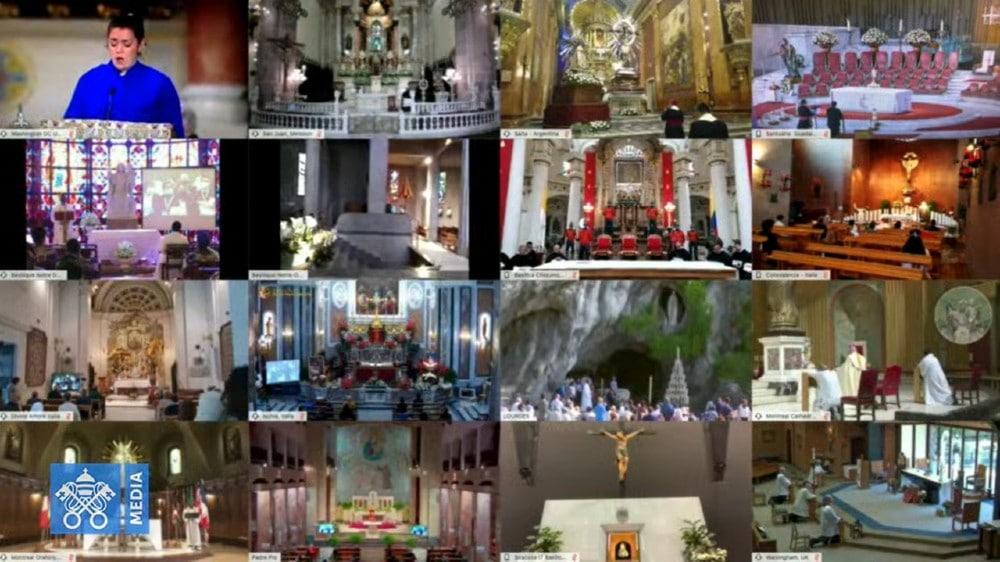 Santuarios del mundo se unieron a la Pandemia. Fotograma Vatican Media.