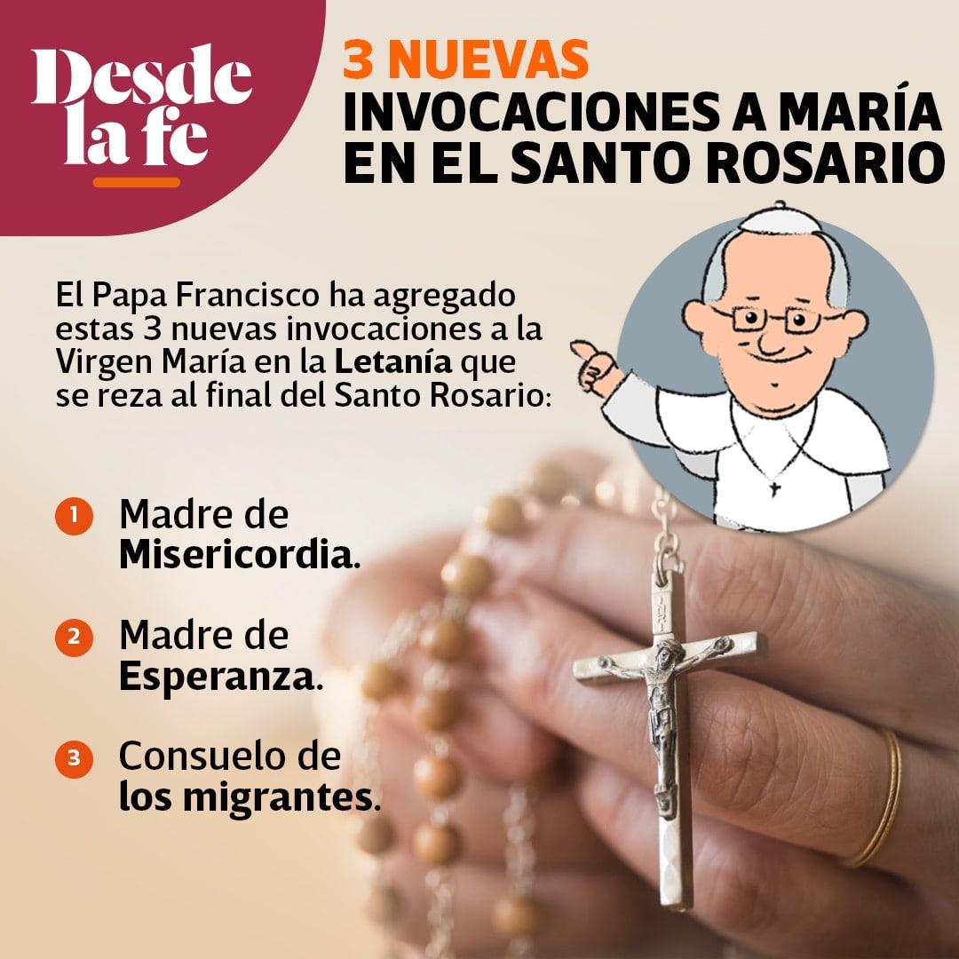 El Papa Francisco agregó 3 nuevas invocaciones a la Letanía que se dice después del Rosario.