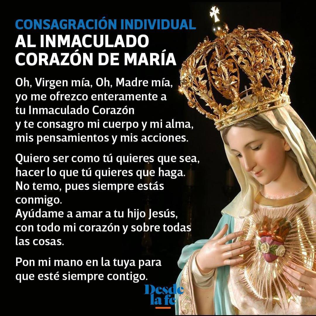 Oración para consagrarse al Inmaculado Corazón de María.
