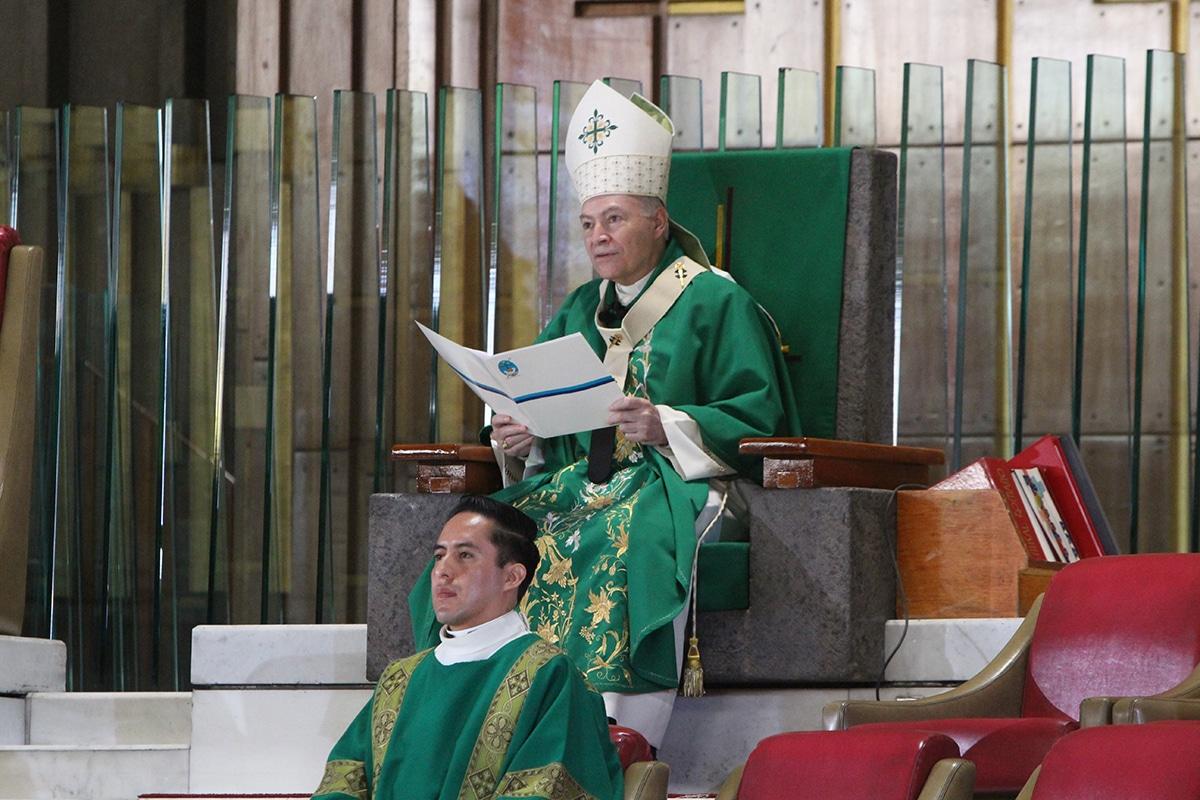 El Arzobispo Aguiar presidió la Misa dominical del 5 de julio de 2020. Foto: Basílica de Guadalupe/Cortesía.