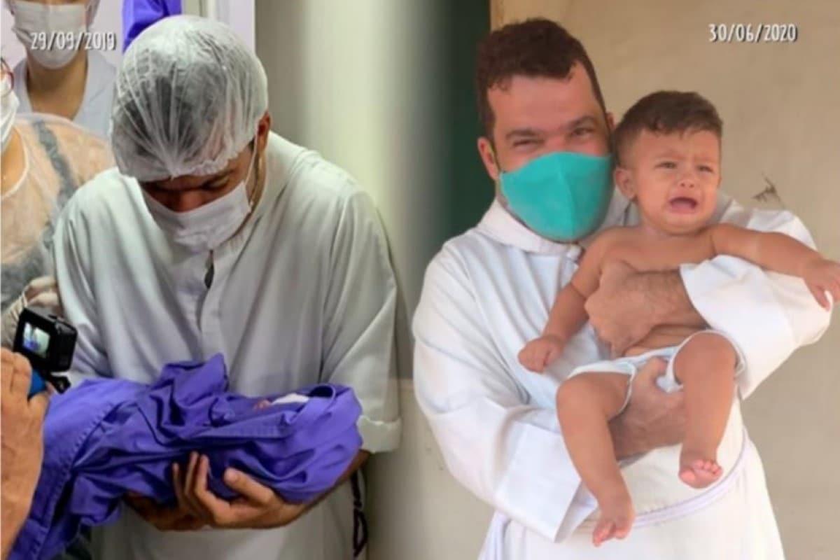 Francisco Adriano, fue el primer bebé en nacer en el barco hospital hace un año. Foto: facebook/associacaolarsaofrancisco