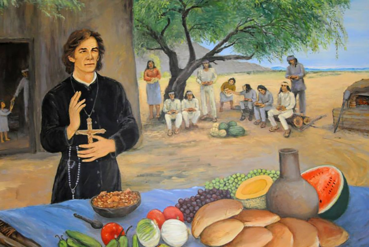 El padre Eusebio Kino, pintura elaborada por el artista José Cirilo Ramos Ríos. Foto: padrekino.org