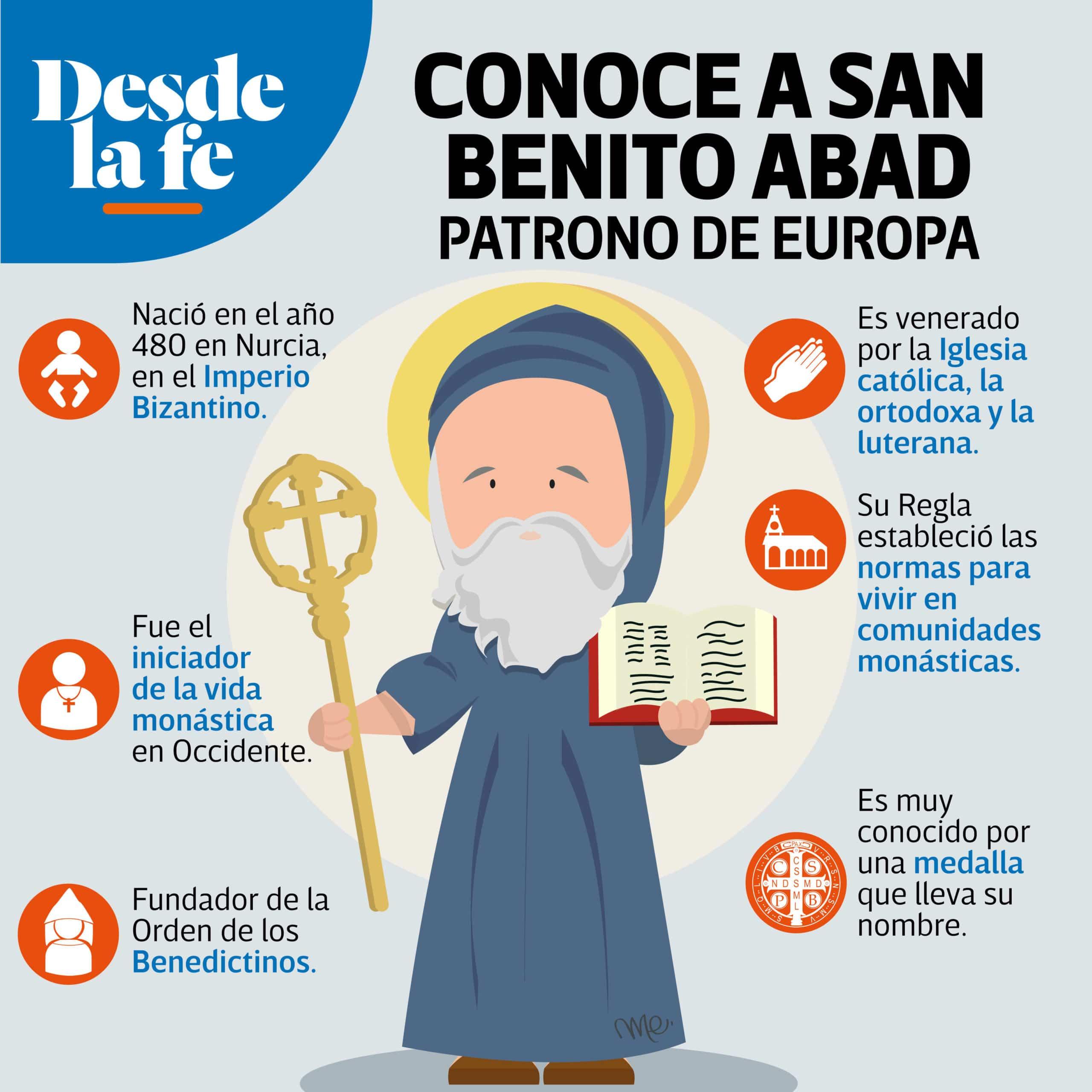 San Benito Abad, patrono de Europa.