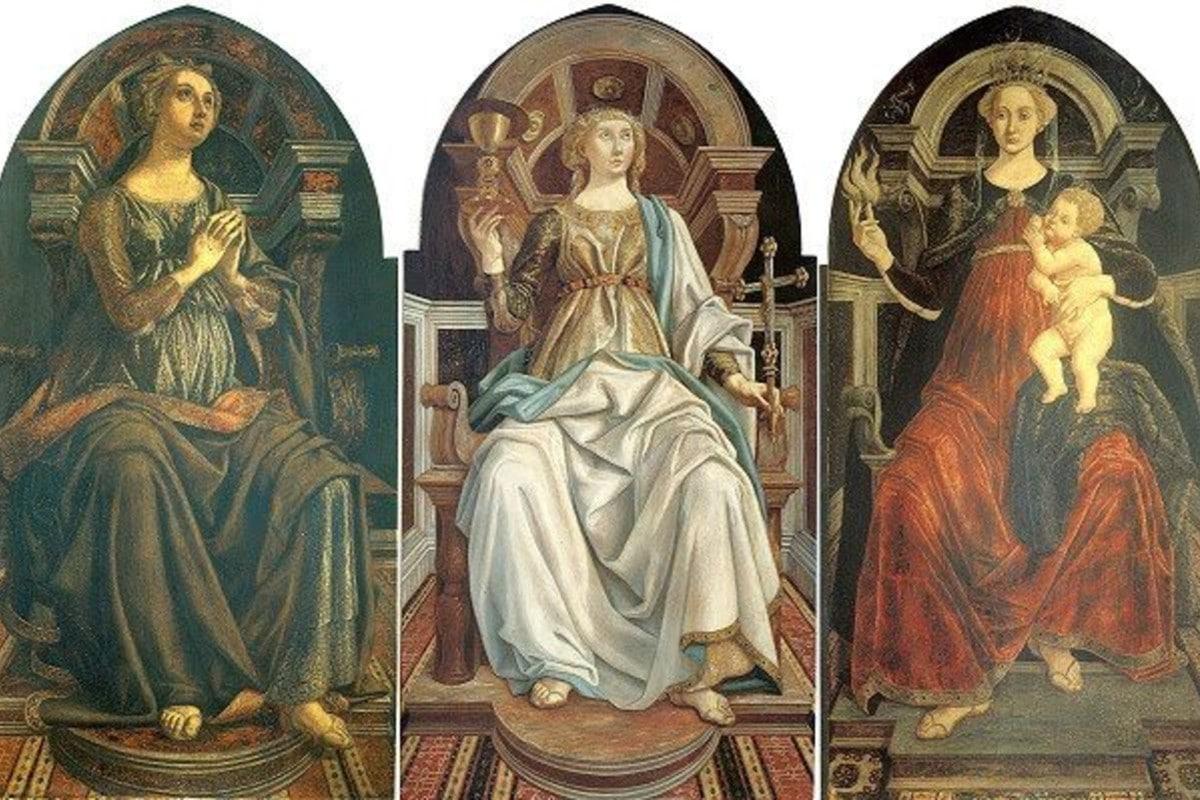 Representación de las Virtudes Teologales: fe, esperanza y caridad.