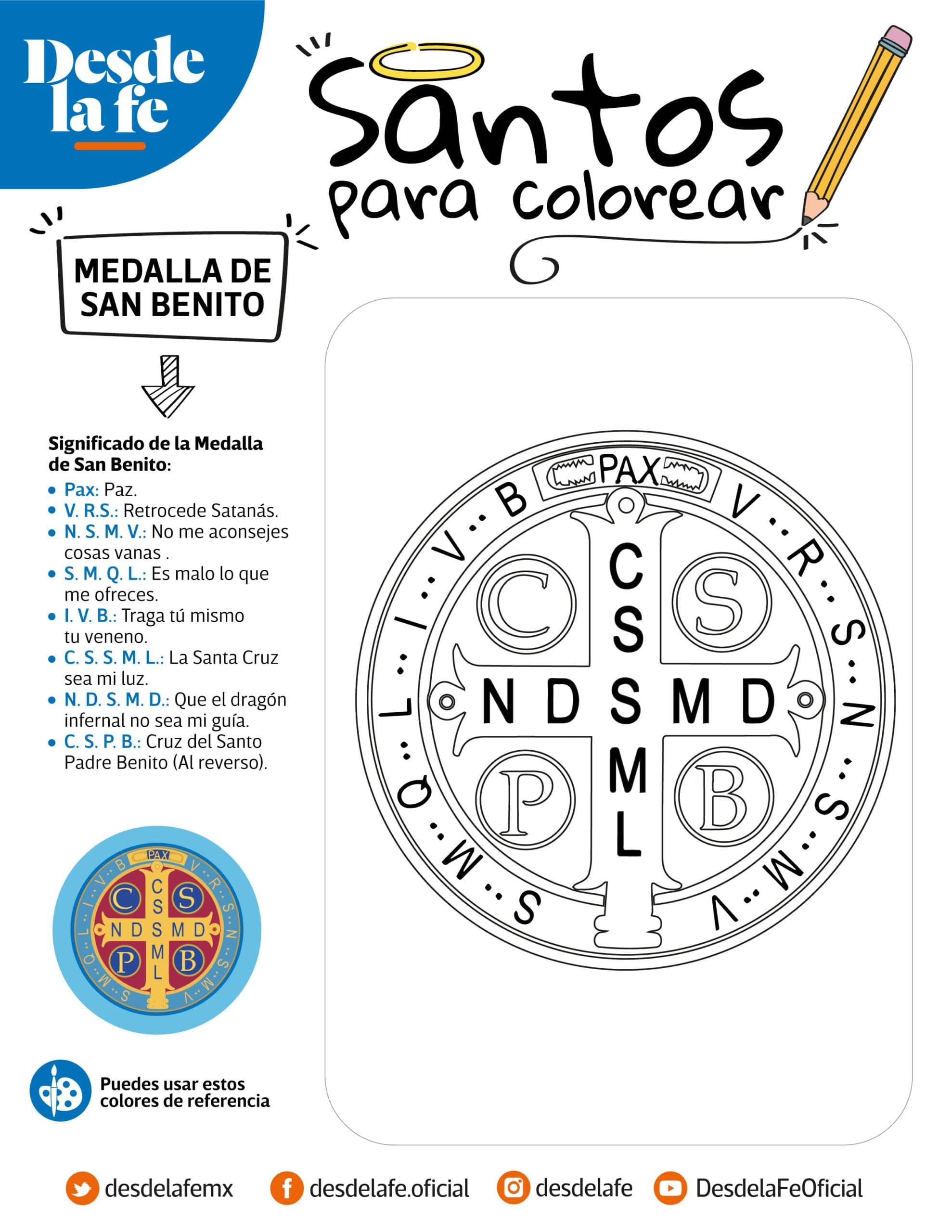 Medalla de San Benito, dibujo para colorear.