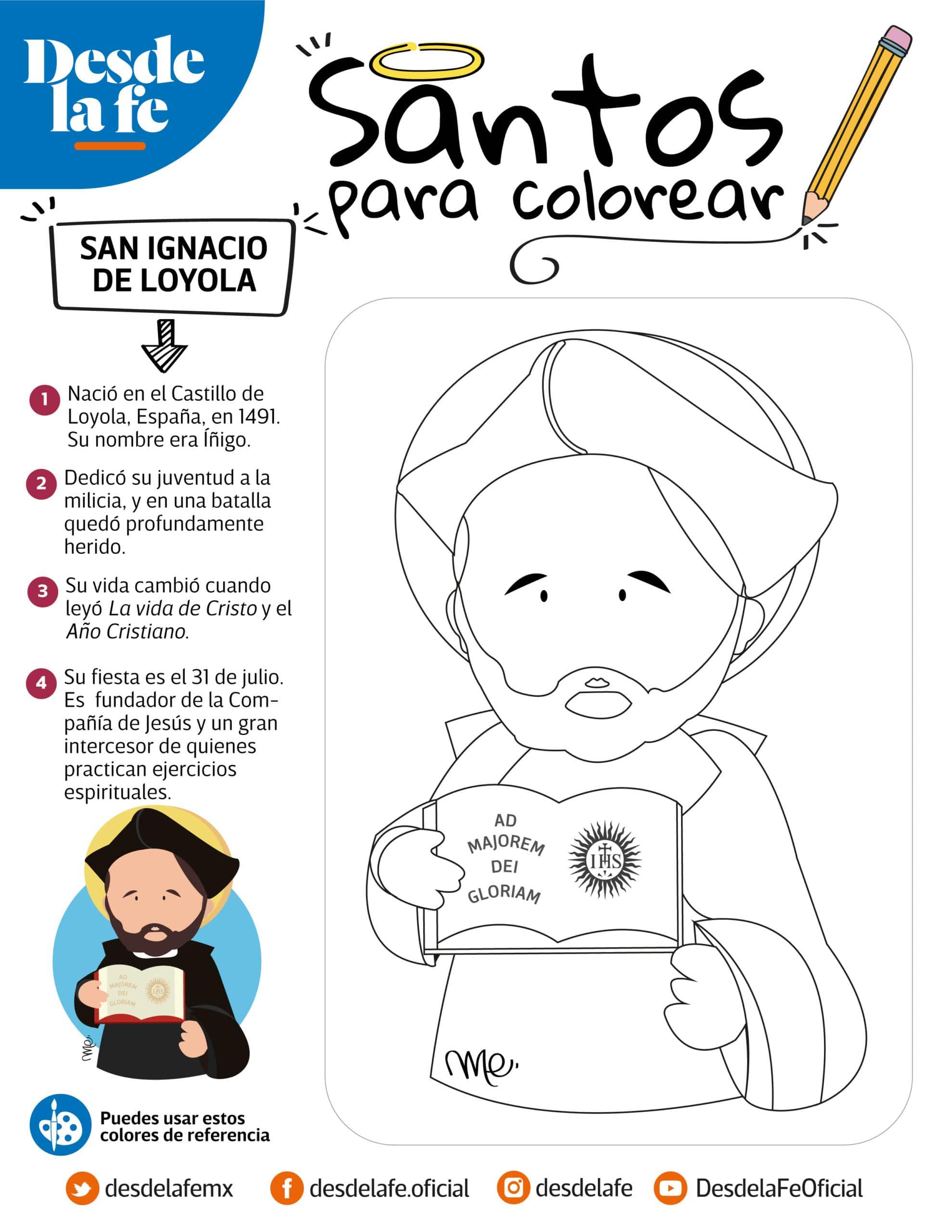 San Ignacio de Loyola, dibujo para colorear.