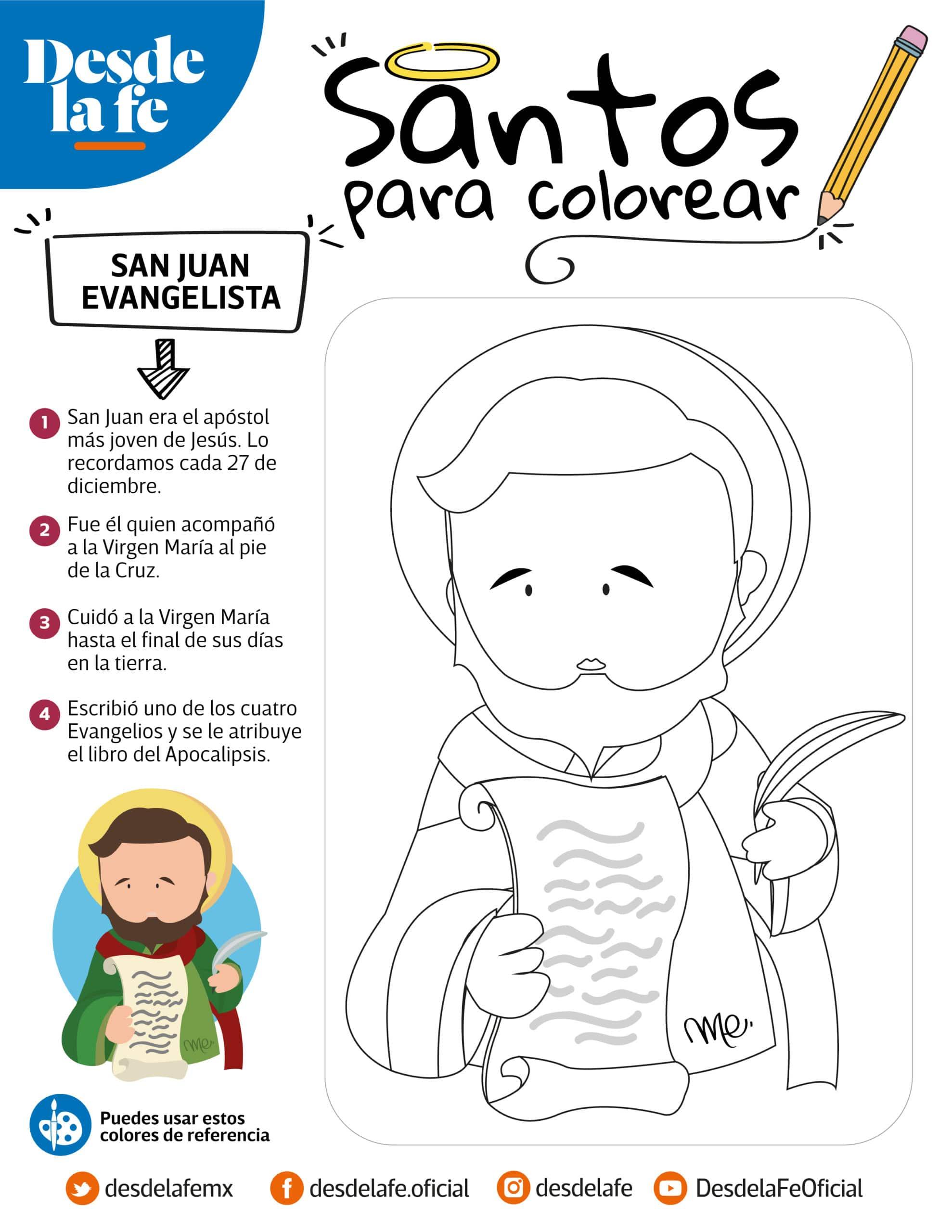 San Juan Evangelista, dibujo para colorear.